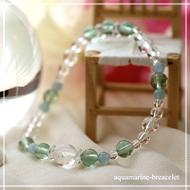 学習能力を高める | グリーンフローライト・アクアマリン・水晶(クォーツ) 花かずら(6mm)ブレスレット