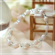 愛される資質を養う | ホワイトオパール・ブルートパーズ・水晶(クォーツ) 鳳凰(6mm)ブレスレット