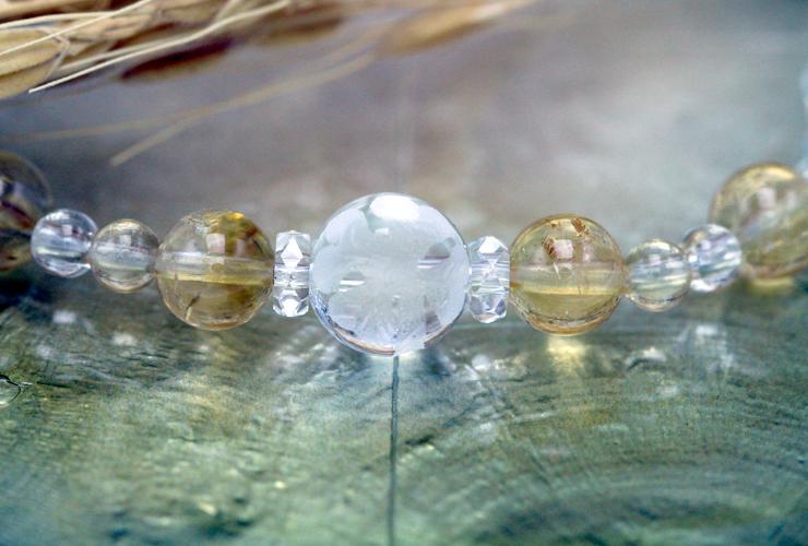 「向日葵色」シトリン・水晶(クォーツ)花かずら(6mm)ブレスレットのイメージ画像1