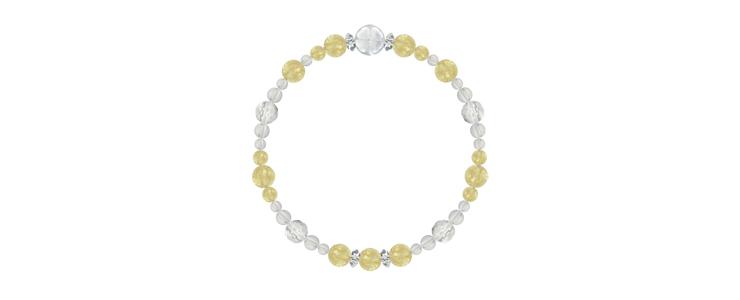 「向日葵色」シトリン・水晶(クォーツ)花かずら(6mm)ブレスレットのイメージ画像2