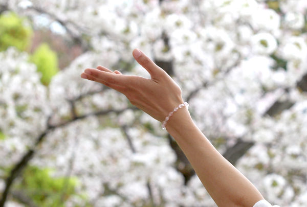 「愛の家」ローズクォーツ・モルガナイトブレスレット(相合い~相生6ミリ~)のメインフラワーイメージ