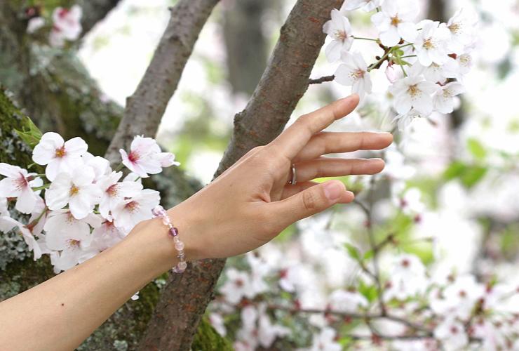 「再生の友」ローズクォーツ・ラベンダーアメジストブレスレット(相合い~相生6ミリ~)の風景着用イメージ