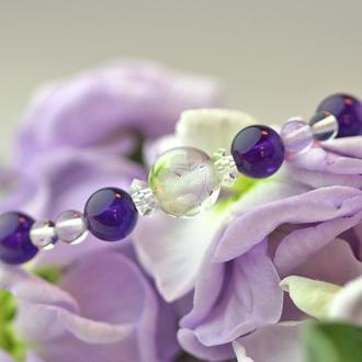 「如月」2月の誕生石アメジストブレスレット(こよみ月~花かずら6ミリ~)のサブフラワーイメージ