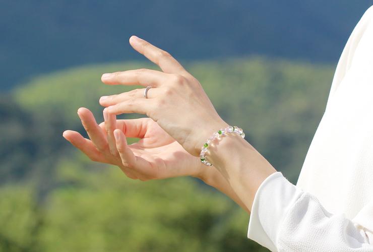 「愛に向き合う」最高品質水晶・ダイオプサイト・ピンクトルマリンシリカブレスレットのイメージ画像5