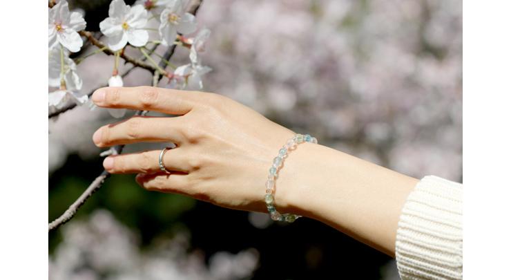 「門出2021」~桜の春~ミックスベリルブレスレットのイメージ画像6mm玉(Aタイプ)