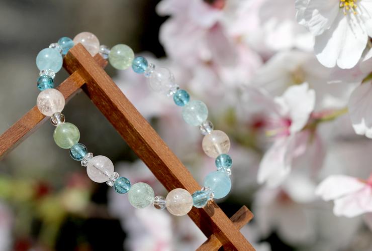 「門出2021」~桜の春~ミックスベリルブレスレットのイメージ画像8