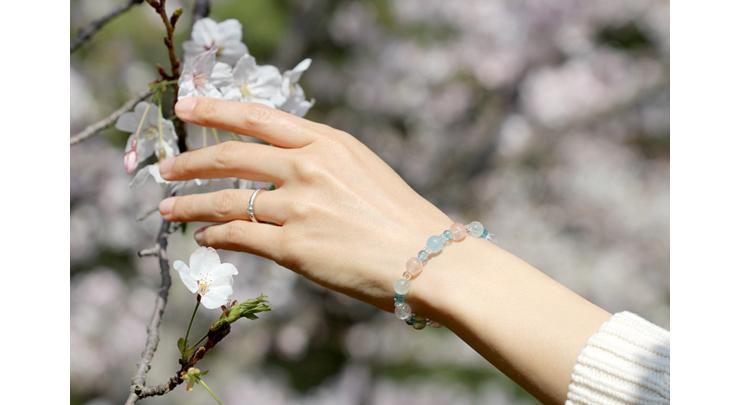 「門出2021」~桜の春~ミックスベリルブレスレットのイメージ画像8mm玉(Bタイプ)
