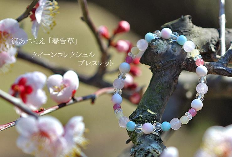 「春告草」高品質クイーンコンクシェルブレスレット(御あつらえ~クイーンコンクシェル~)のイメージ画像1