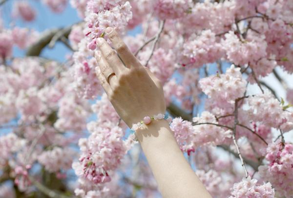 「佐保姫」最高級品質ローズクォーツ・ブルーカルサイトブレスレット(御あつらえ~ローズクォーツ~)のイメージ画像2