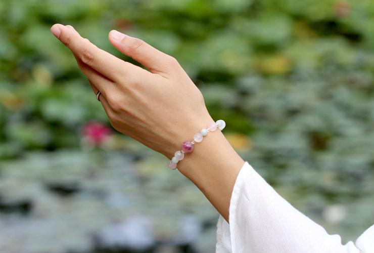 「玉」高品質ピンクトルマリンシリカブレスレットのイメージ画像5