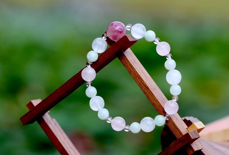 「玉」高品質ピンクトルマリンシリカブレスレットのイメージ画像6