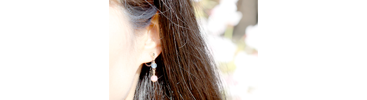 「秘め」高品質ピンクトルマリンピアス・イヤリングのイメージ画像E2