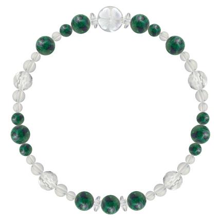 緑青色   アズロマラカイト・水晶(クォーツ) 花かずら(6mm)ブレスレット