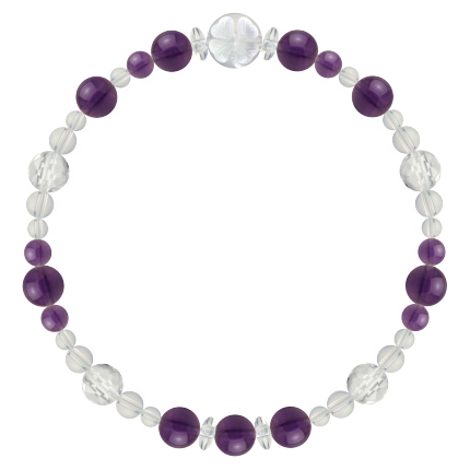 紫色 | アメジスト・水晶(クォーツ) 花かずら(6mm)ブレスレット