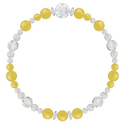 黄色 | イエローメノウ・水晶(クォーツ) 花かずら(6mm)ブレスレット