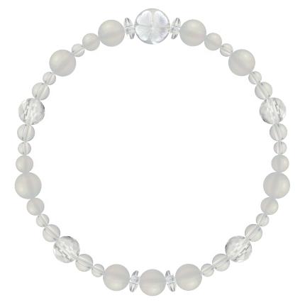卯の花色 | ホワイトオニキス・水晶(クォーツ) 花かずら(6mm)ブレスレット