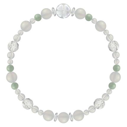 再生する力を高める | ホワイトオニキス・翡翠・水晶(クォーツ) 花かずら(6mm)ブレスレット