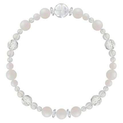 練色 | ホワイトオパール・水晶(クォーツ) 花かずら(6mm)ブレスレット