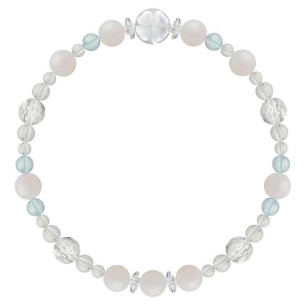 愛される資質を養う | ホワイトオパール・ブルートパーズ・水晶(クォーツ) 花かずら(6mm)ブレスレット