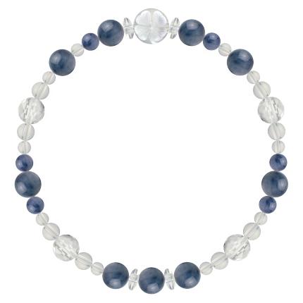 群青色 | カイヤナイト・水晶(クォーツ) 花かずら(6mm)ブレスレット