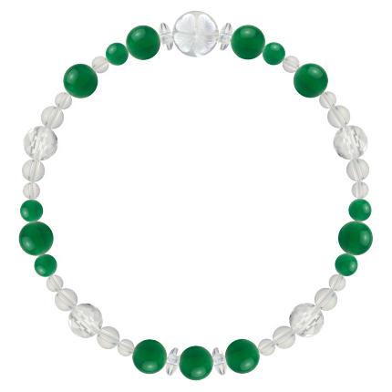 緑色 | グリーンメノウ・水晶(クォーツ) 花かずら(6mm)ブレスレット