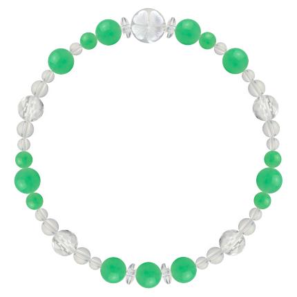 若緑色 | クリソプレーズ・水晶(クォーツ) 花かずら(6mm)ブレスレット