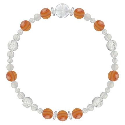 危険から遠ざける | サードオニキス・ホワイトオニキス・水晶(クォーツ) 花かずら(6mm)ブレスレット