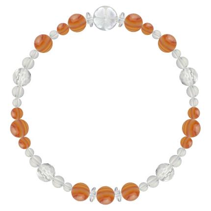 橙色 | サードオニキス・水晶(クォーツ) 花かずら(6mm)ブレスレット