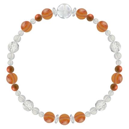 心身の力を高める | サードオニキス・レッドジャスパー・水晶(クォーツ) 花かずら(6mm)ブレスレット