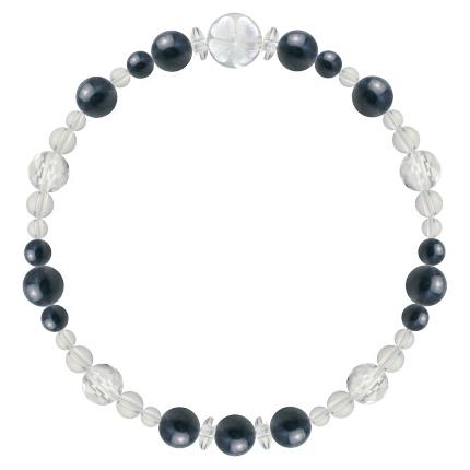 紺青色 | サファイア・水晶(クォーツ) 花かずら(6mm)ブレスレット