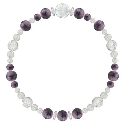 京紫色 | チャロアイト・水晶(クォーツ) 花かずら(6mm)ブレスレット