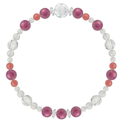 愛あふれる人生に導く | ピンクトルマリン・インカローズ・水晶(クォーツ) 花かずら(6mm)ブレスレット