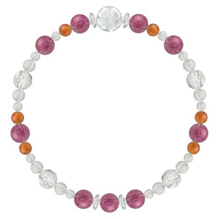 強い忍耐力をもたらす | ピンクトルマリン・カーネリアン・水晶(クォーツ) 花かずら(6mm)ブレスレット