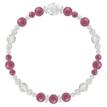 牡丹色 | ピンクトルマリン・水晶(クォーツ) 花かずら(6mm)ブレスレット