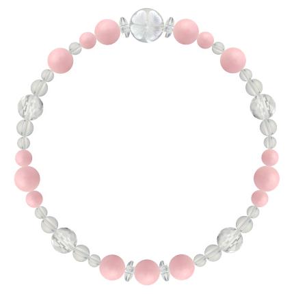 鴇色 | ピンクオパール・水晶(クォーツ) 花かずら(6mm)ブレスレット