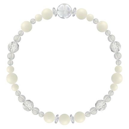 生成り色 | ホワイトコーラル・水晶(クォーツ) 花かずら(6mm)ブレスレット