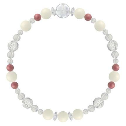 安定した愛情を育む | ホワイトコーラル・ロードナイト・水晶(クォーツ) 花かずら(6mm)ブレスレット