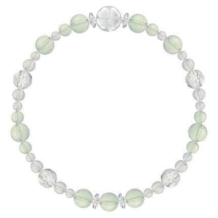 白緑色 | グリーンアメジスト・水晶(クォーツ) 花かずら(6mm)ブレスレット