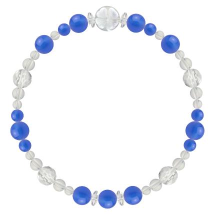 青色   ブルーメノウ・水晶(クォーツ) 花かずら(6mm)ブレスレット