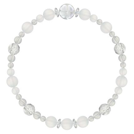 白色 | フロスティクォーツ・水晶(クォーツ) 花かずら(6mm)ブレスレット