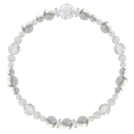 灰白色 | ハウライト・水晶(クォーツ) 花かずら(6mm)ブレスレット