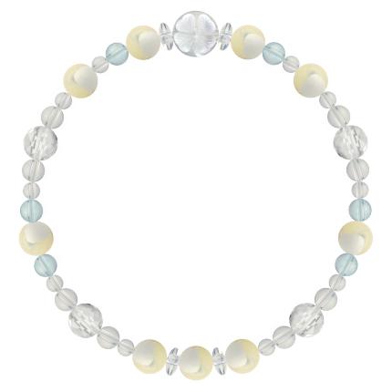 人間的な魅力を高める | マザーオブパール・ブルートパーズ・水晶(クォーツ) 花かずら(6mm)ブレスレット
