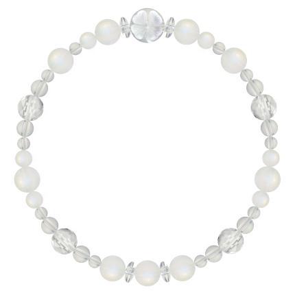 月白色   ブルームーンストーン・水晶(クォーツ) 花かずら(6mm)ブレスレット