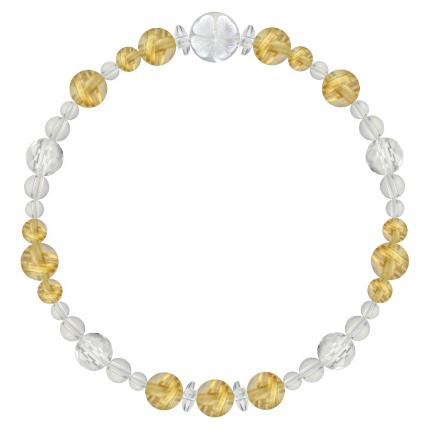 黄金色 | ルチルクォーツ・水晶(クォーツ) 花かずら(6mm)ブレスレット
