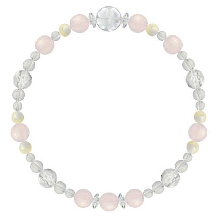 愛情と優しさを授ける | ローズクォーツ・マザーオブパール・水晶(クォーツ) 花かずら(6mm)ブレスレット