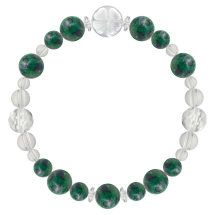 緑青色 | アズロマラカイト・水晶(クォーツ) 花かずら(8mm)ブレスレット