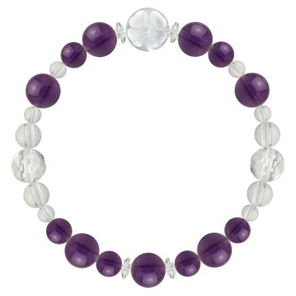 紫色   アメジスト・水晶(クォーツ) 花かずら(8mm)ブレスレット