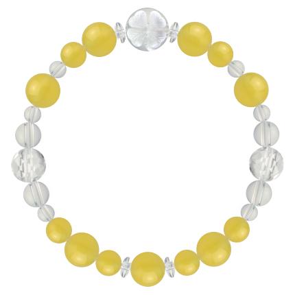 黄色 | イエローメノウ・水晶(クォーツ) 花かずら(8mm)ブレスレット