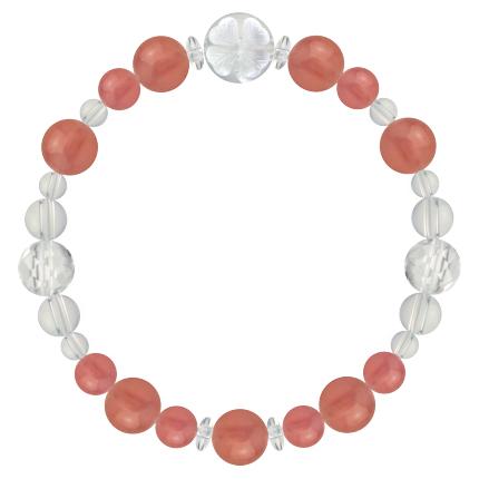 薔薇色 | インカローズ・水晶(クォーツ) 花かずら(8mm)ブレスレット