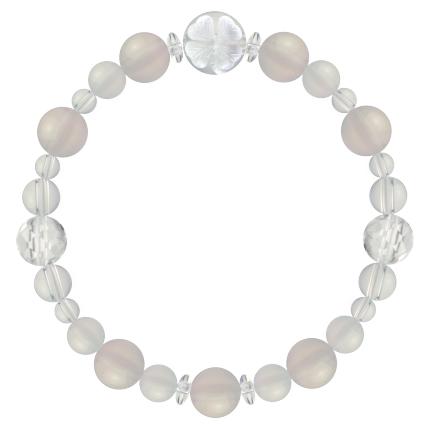卯の花色 | ホワイトオニキス・水晶(クォーツ) 花かずら(8mm)ブレスレット